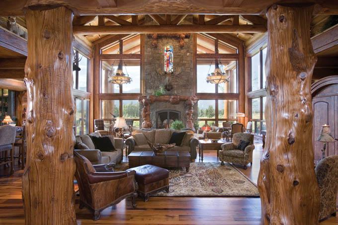 Интерьеры домов из бруса  woodhousesu