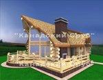 Проект рубленного дома из бревна-Изба в канадском стиле
