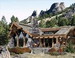Проект рубленного дома из бревна-сочетание дикого камня и бревна