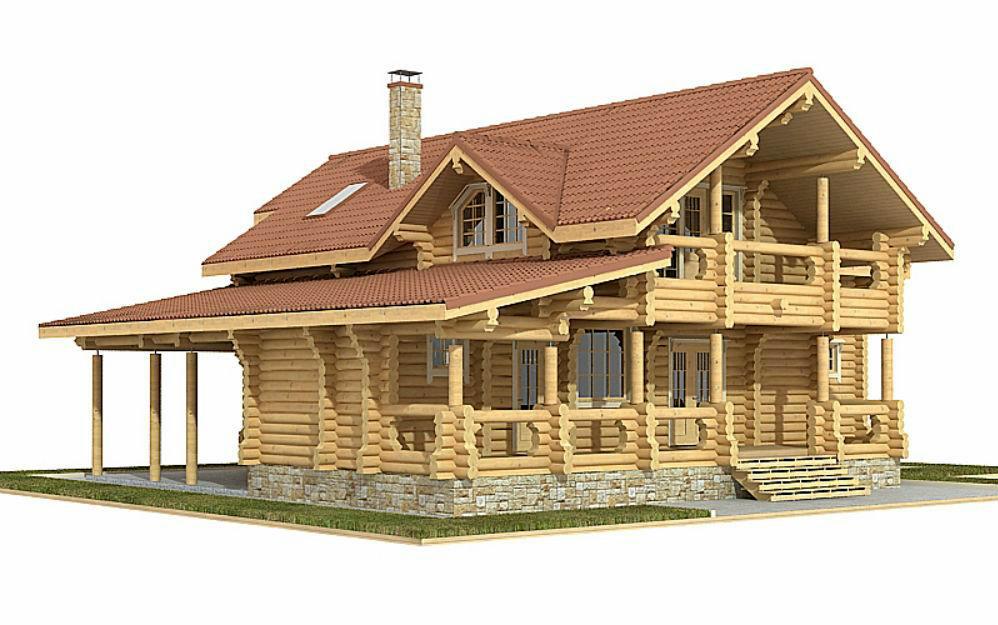 Проект дома из бревна-дом 215