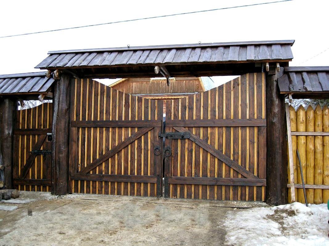 Ворота и заборы в русском стиле-ворота №13