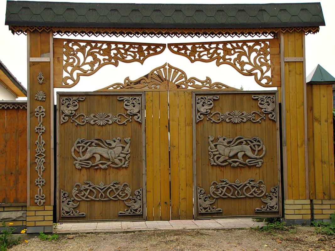 Ворота и заборы в русском стиле-ворота №14