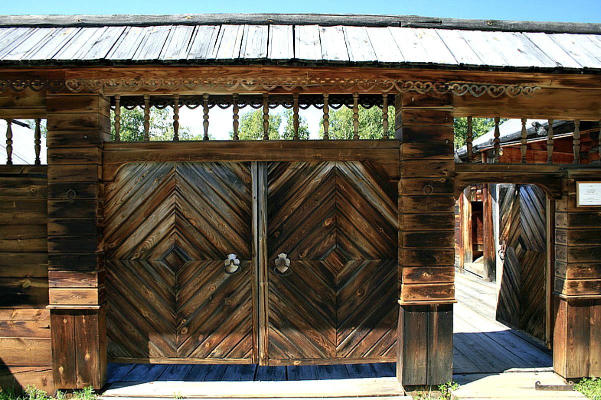 Ворота и заборы в русском стиле-ворота №15