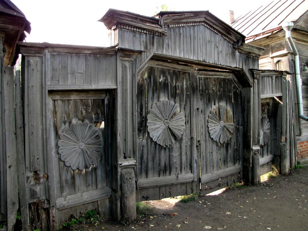 Ворота и заборы в русском стиле-ворота №20