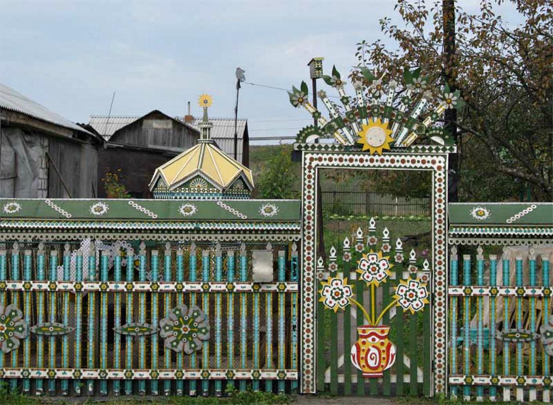 Ворота и заборы в русском стиле-ворота №39