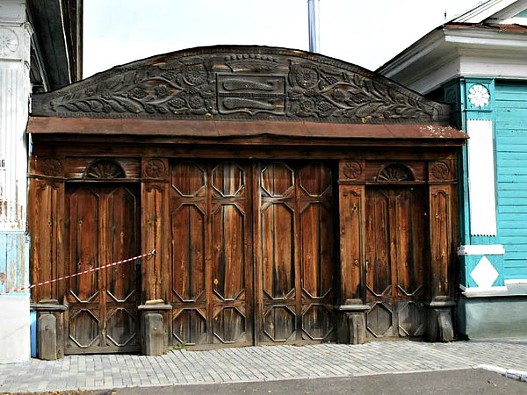 Ворота и заборы в русском стиле-ворота №16