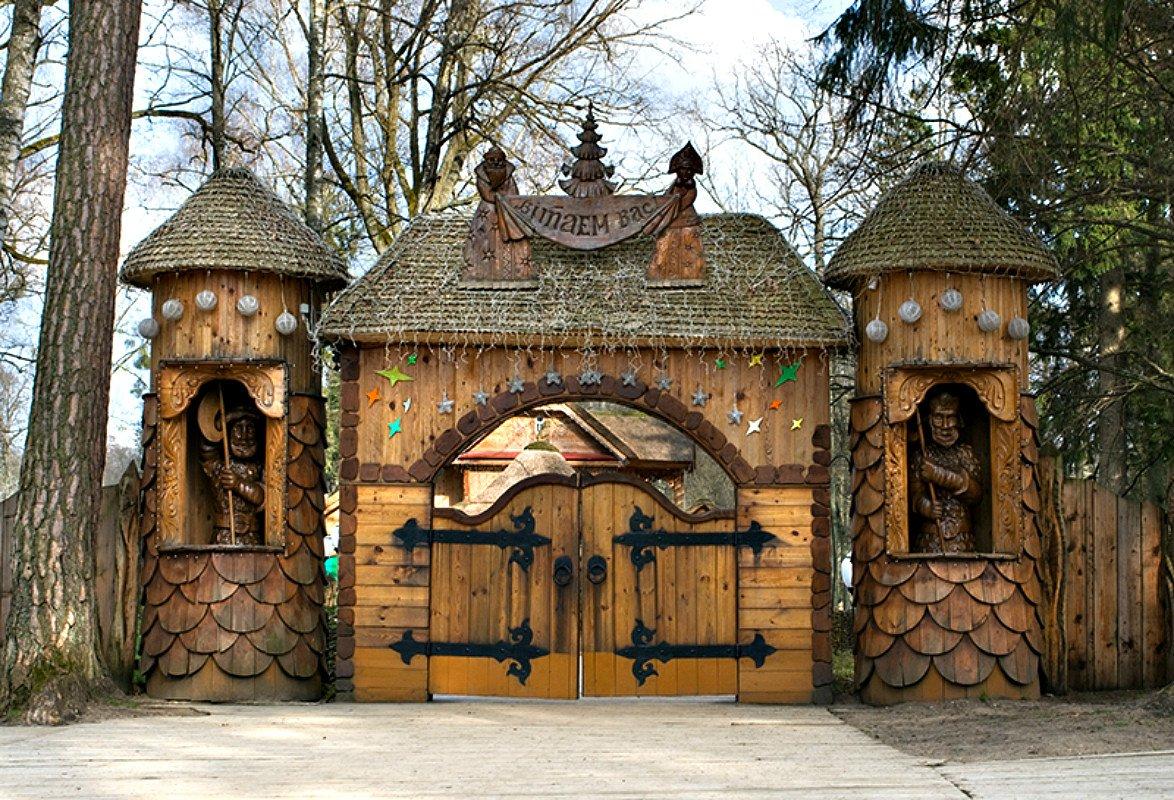 Ворота и заборы в русском стиле-ворота №18
