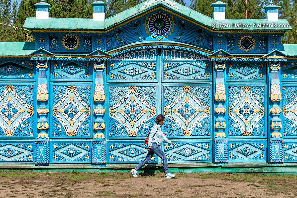 Ворота и заборы в русском стиле-ворота №22