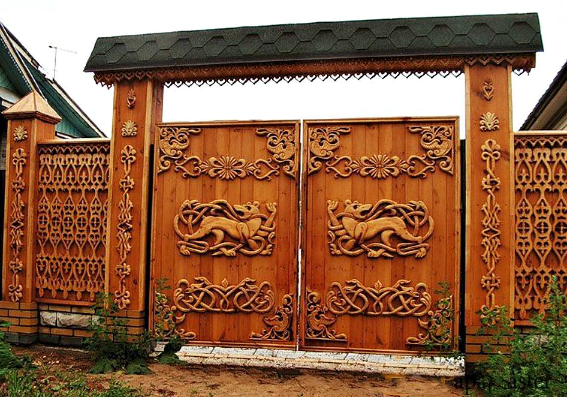 Ворота и заборы в русском стиле-ворота №23