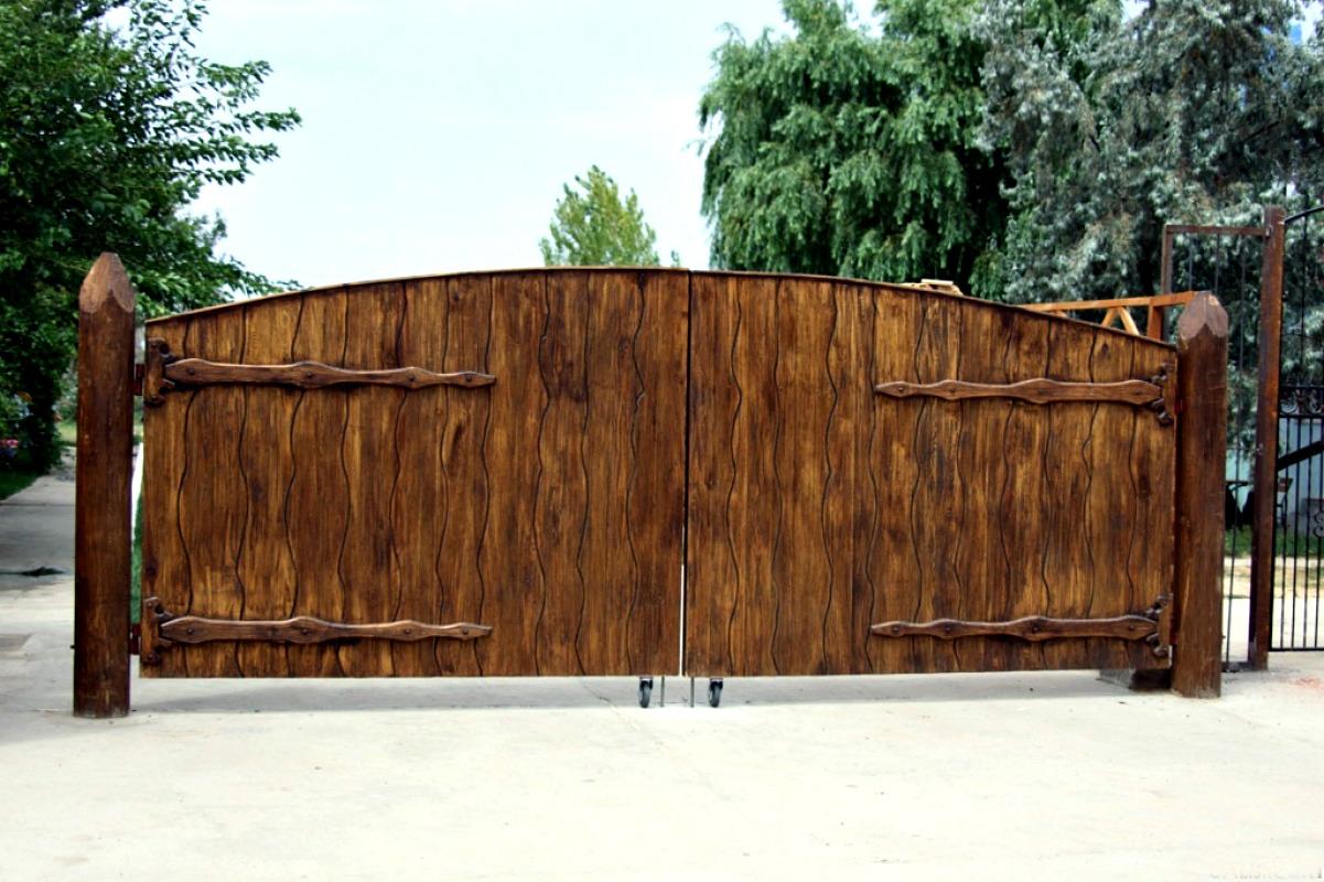 Ворота и заборы в русском стиле-ворота №27