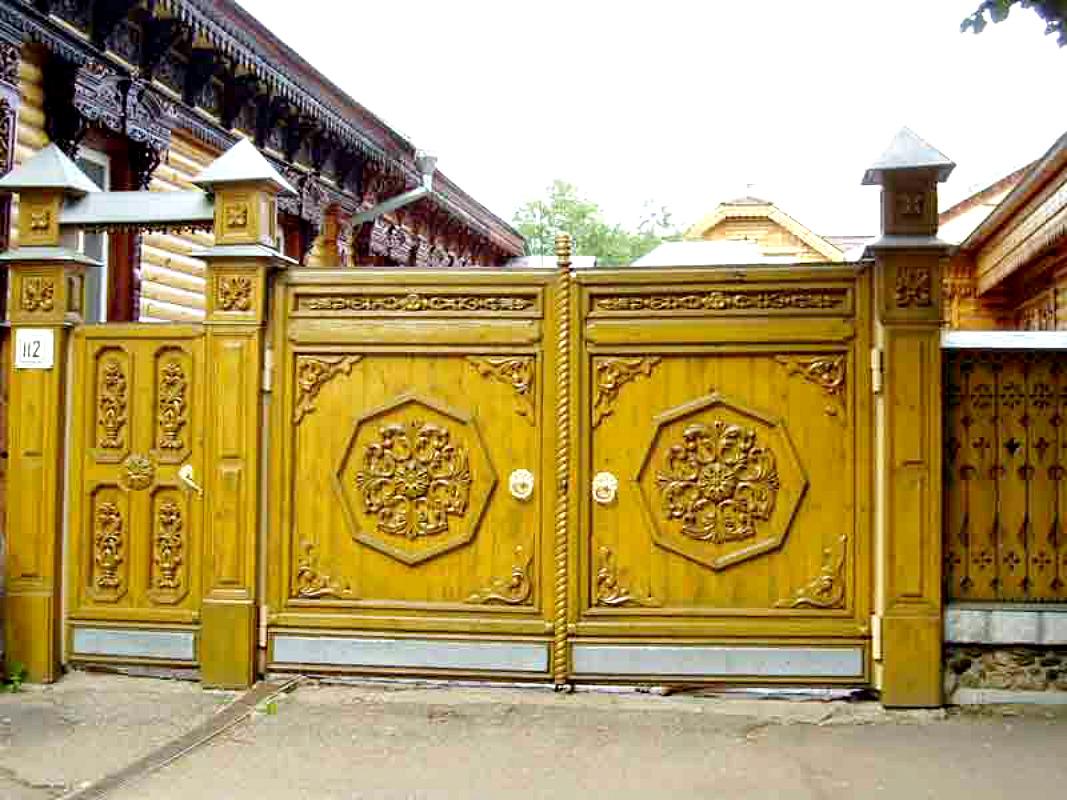 Ворота и заборы в русском стиле-ворота №28