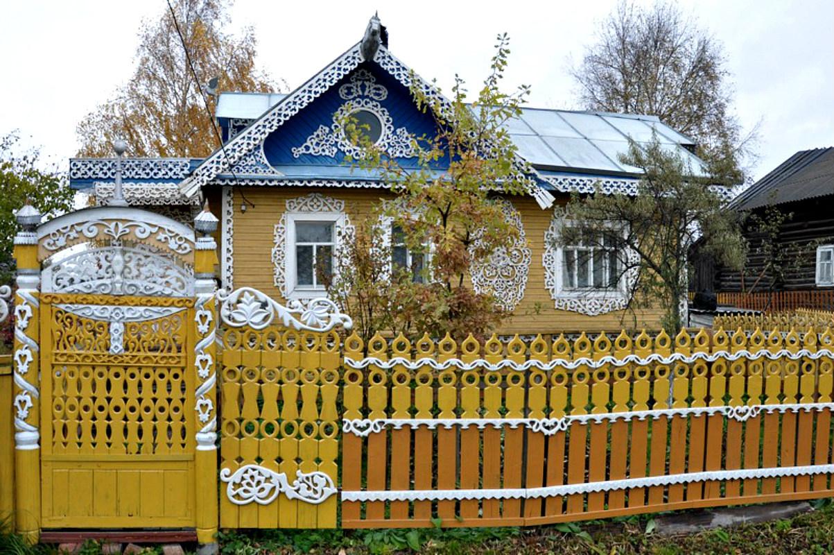 Ворота и заборы в русском стиле-ворота №31