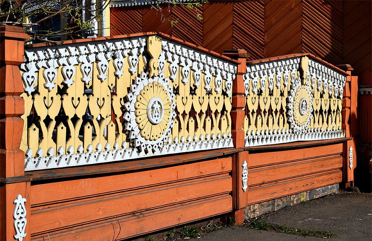 Ворота и заборы в русском стиле-ворота №32