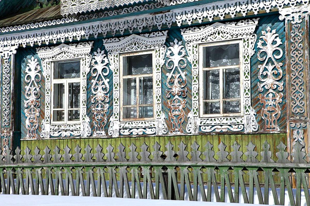 Ворота и заборы в русском стиле-ворота №33
