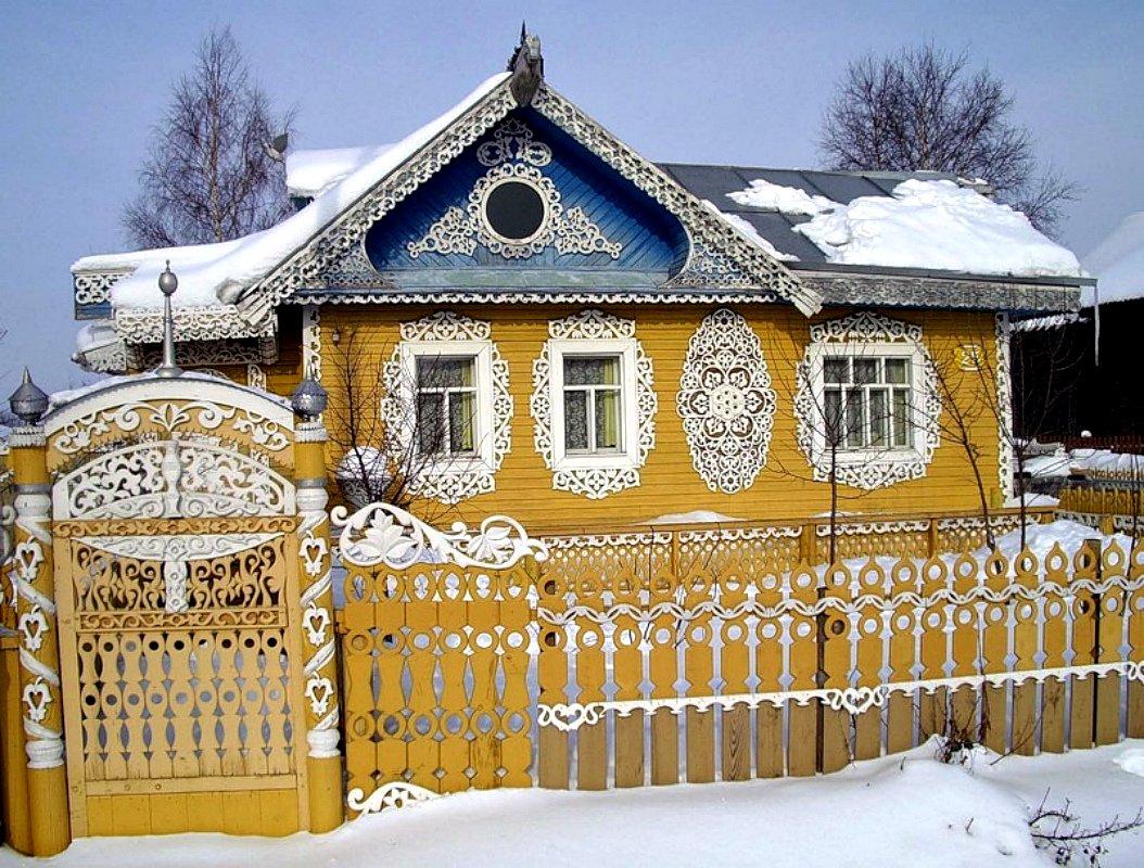 Ворота и заборы в русском стиле-ворота №37