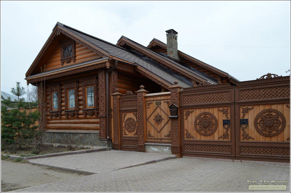 Ворота и заборы в русском стиле-ворота №6