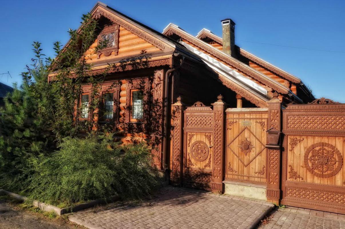 Ворота и заборы в русском стиле-ворота №7