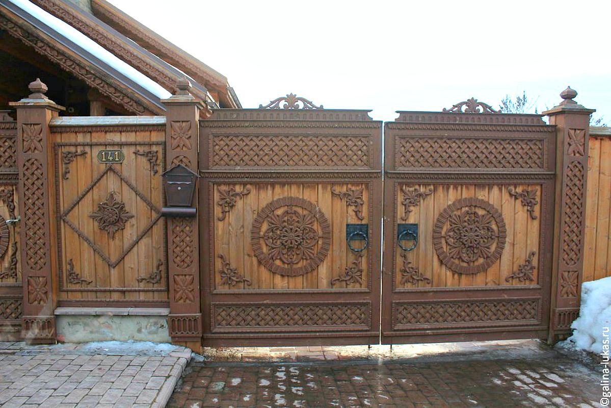 Ворота и заборы в русском стиле-ворота №8